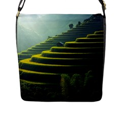 Scenic View Of Rice Paddy Flap Closure Messenger Bag (l)