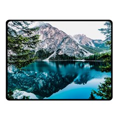 Daylight Forest Glossy Lake Double Sided Fleece Blanket (small)