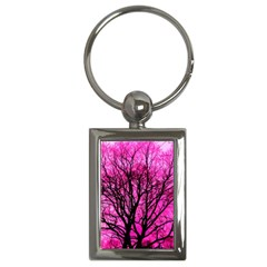 Pink Silhouette Tree Key Chains (rectangle)
