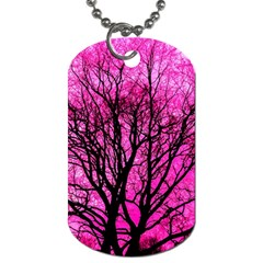 Pink Silhouette Tree Dog Tag (one Side)
