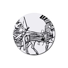 Line Art Drawing Ancient Chariot Rubber Coaster (round)