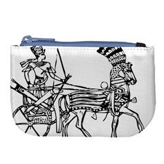 Line Art Drawing Ancient Chariot Large Coin Purse