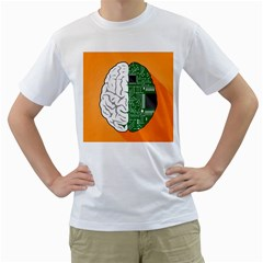 Technology Brain Digital Creative Men s T Shirt (white) (two Sided)