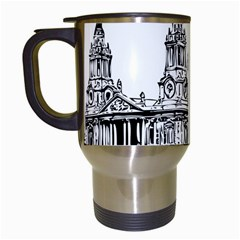 Line Art Architecture Church Travel Mugs (white)