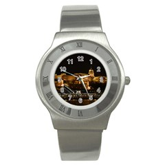 Budapest Buda Castle Building Scape Stainless Steel Watch