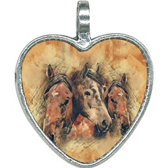 Head Horse Animal Vintage Heart Necklace