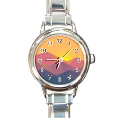 Image Sunset Landscape Graphics Round Italian Charm Watch
