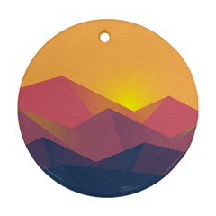 Image Sunset Landscape Graphics Round Ornament (two Sides)