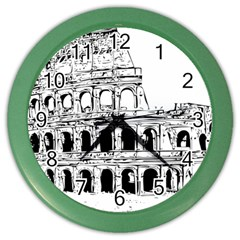 Line Art Architecture Color Wall Clock