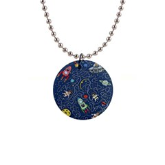 Cat Cosmos Cosmonaut Rocket 1  Button Necklace