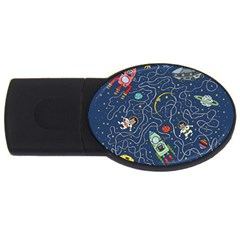Cat Cosmos Cosmonaut Rocket Usb Flash Drive Oval (4 Gb)