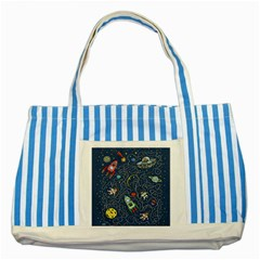 Cat Cosmos Cosmonaut Rocket Striped Blue Tote Bag