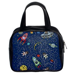 Cat Cosmos Cosmonaut Rocket Classic Handbag (two Sides)