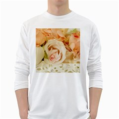 Roses Plate Romantic Blossom Bloom Long Sleeve T-shirt