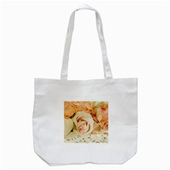 Roses Plate Romantic Blossom Bloom Tote Bag (white)