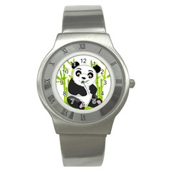 Giant Panda Bear Stainless Steel Watch
