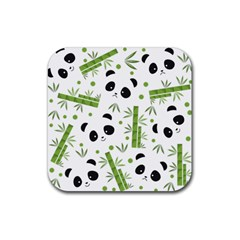 Giant Panda Bear Bamboo Icon Green Bamboo Rubber Coaster (square)