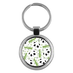 Giant Panda Bear Bamboo Icon Green Bamboo Key Chains (round)