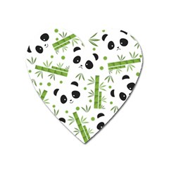 Giant Panda Bear Bamboo Icon Green Bamboo Heart Magnet by Sudhe