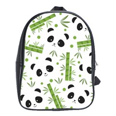 Giant Panda Bear Bamboo Icon Green Bamboo School Bag (large) by Sudhe