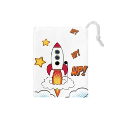 Rocket Cartoon Drawstring Pouch (small)