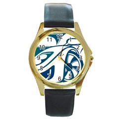 Blue Vector Car Round Gold Metal Watch