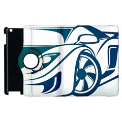Blue Vector Car Apple Ipad 3/4 Flip 360 Case