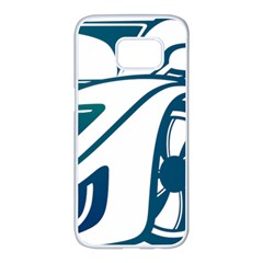 Blue Vector Car Samsung Galaxy S7 Edge White Seamless Case