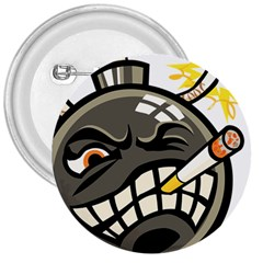 Smoking Cartoon Evil Bomb Cartoon 3  Buttons by Sudhe