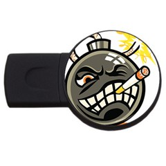 Smoking Cartoon Evil Bomb Cartoon Usb Flash Drive Round (2 Gb)