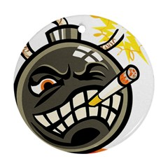 Smoking Cartoon Evil Bomb Cartoon Round Ornament (two Sides)