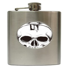 Skull Knife Euclidean Vector Skull Sword Inserted Hip Flask (6 Oz)
