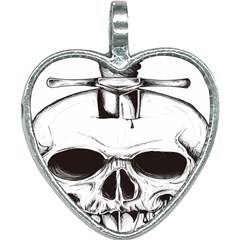 Skull Knife Euclidean Vector Skull Sword Inserted Heart Necklace by Sudhe