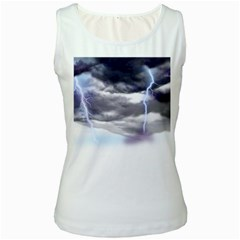 Thunder And Lightning Weather Clouds Painted Cartoon Women s White Tank Top by Sudhe
