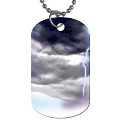 Thunder And Lightning Weather Clouds Painted Cartoon Dog Tag (two Sides)