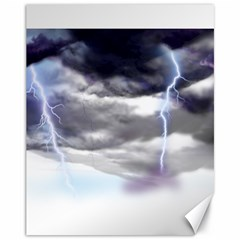 Thunder And Lightning Weather Clouds Painted Cartoon Canvas 11  X 14