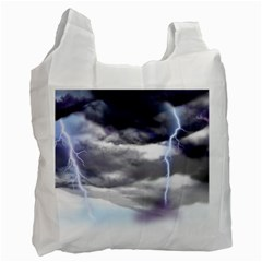 Thunder And Lightning Weather Clouds Painted Cartoon Recycle Bag (two Side)