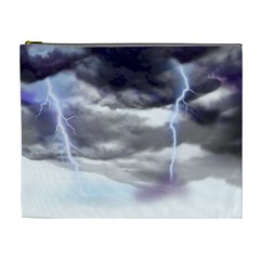 Thunder And Lightning Weather Clouds Painted Cartoon Cosmetic Bag (xl)