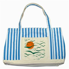 Sunset Glow Sun Birds Flying Striped Blue Tote Bag