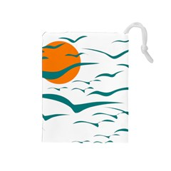 Sunset Glow Sun Birds Flying Drawstring Pouch (medium) by AnjaniArt