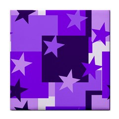 Purple Stars Pattern Shape Tile Coasters
