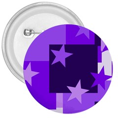 Purple Stars Pattern Shape 3  Buttons