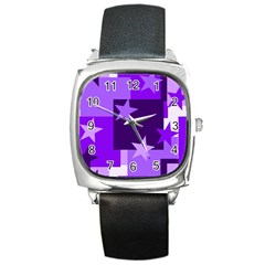 Purple Stars Pattern Shape Square Metal Watch