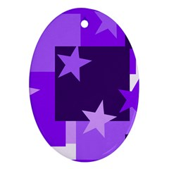 Purple Stars Pattern Shape Oval Ornament (two Sides)