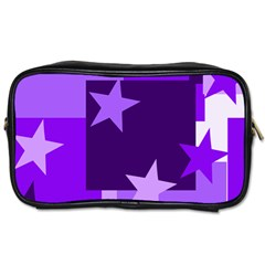 Purple Stars Pattern Shape Toiletries Bag (one Side)