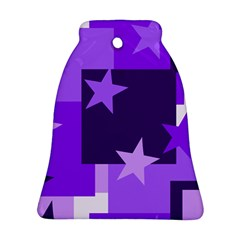 Purple Stars Pattern Shape Bell Ornament (two Sides)