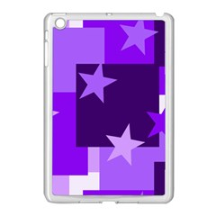 Purple Stars Pattern Shape Apple Ipad Mini Case (white)