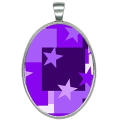 Purple Stars Pattern Shape Oval Necklace