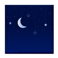 Night Moon Star Background Tile Coasters