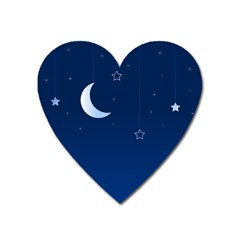 Night Moon Star Background Heart Magnet